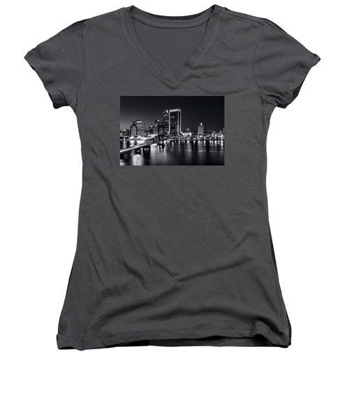 St Johns River Skyline By Night, Jacksonville, Florida In Black And White Women's V-Neck