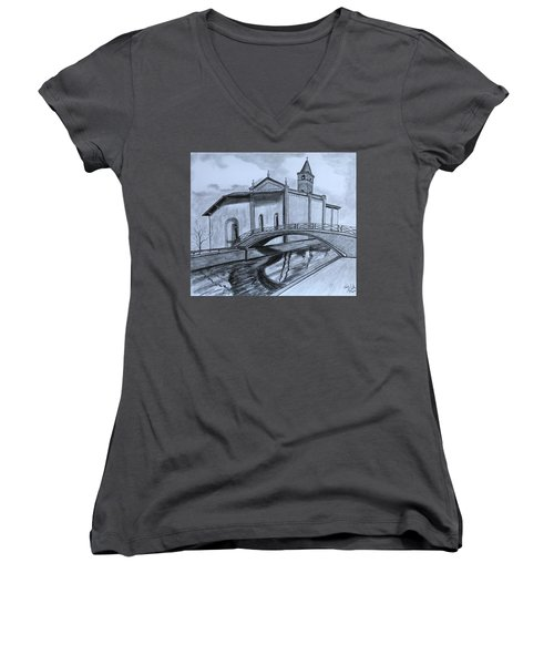 St. Jules Cathedral  Women's V-Neck T-Shirt (Junior Cut) by Tony Clark