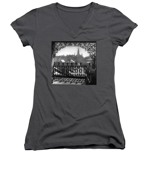 St Louis Cathedral In Frame Women's V-Neck (Athletic Fit)