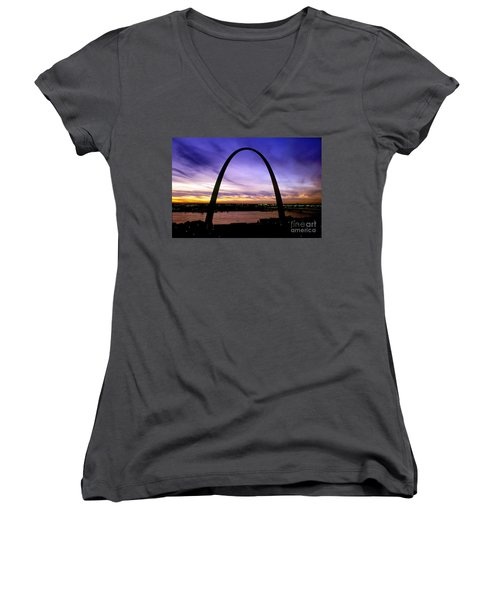 St. Louis, Missouri Women's V-Neck T-Shirt (Junior Cut) by Wernher Krutein
