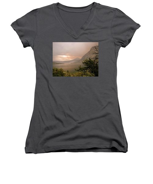 St Mary Lake In The Smoke Women's V-Neck T-Shirt