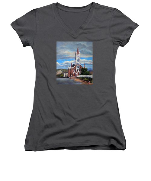 Women's V-Neck T-Shirt (Junior Cut) featuring the painting St. Mary Of The Mountains by Donna Tucker