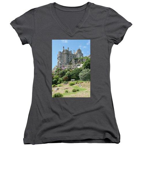 St Michael's Mount Castle II Women's V-Neck T-Shirt (Junior Cut) by Helen Northcott