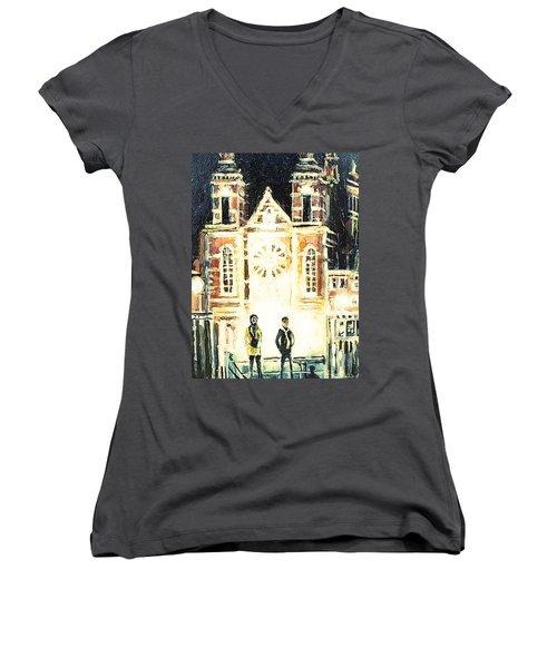 Women's V-Neck T-Shirt (Junior Cut) featuring the drawing St Nicolaaskerk Church by Linda Shackelford