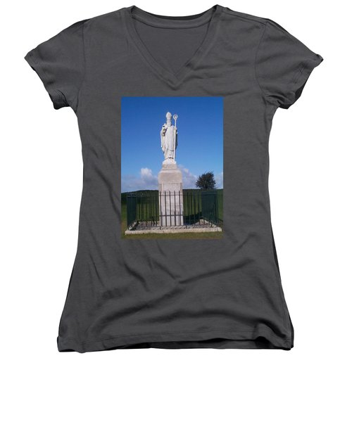 Women's V-Neck T-Shirt (Junior Cut) featuring the photograph St Patrick by Charles Kraus
