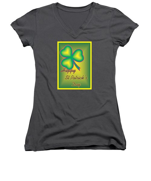 St. Patrick's Day Women's V-Neck T-Shirt (Junior Cut) by Sherril Porter