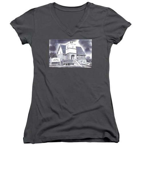 Women's V-Neck T-Shirt (Junior Cut) featuring the painting St Paul Lutheran With Ink by Kip DeVore