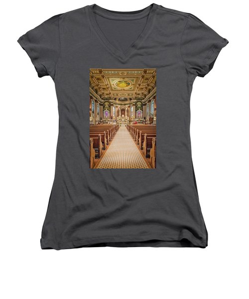 Women's V-Neck T-Shirt (Junior Cut) featuring the photograph St Peter The Apostle Church Pa by Susan Candelario