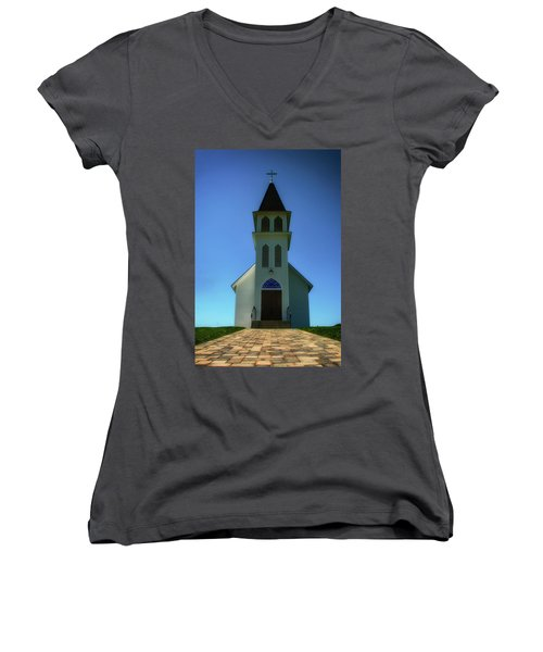 Women's V-Neck T-Shirt (Junior Cut) featuring the photograph St. Peter's Church 2 by Joseph Hollingsworth