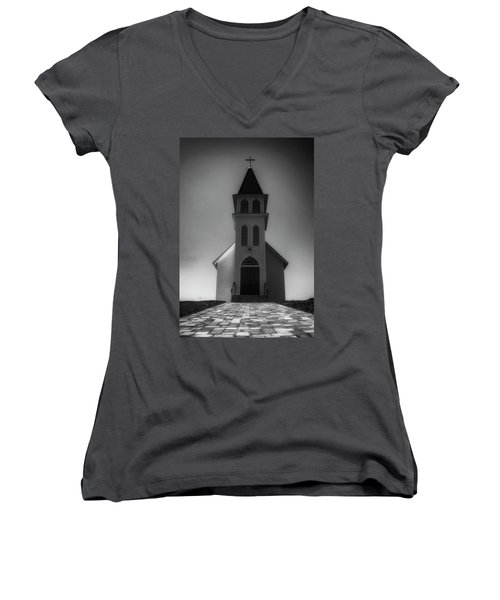 Women's V-Neck T-Shirt (Junior Cut) featuring the photograph St. Peter's Church by Joseph Hollingsworth
