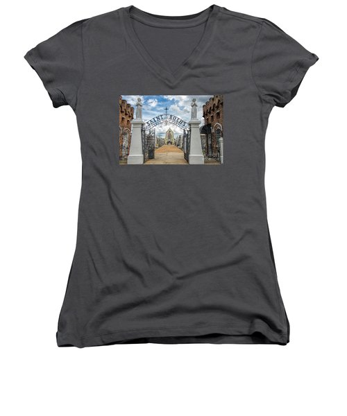 Women's V-Neck T-Shirt (Junior Cut) featuring the photograph St. Roch's Cemetery In New Orleans, Louisiana by Bonnie Barry