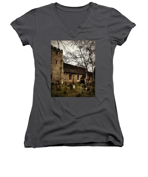 St. Thomas The Martyr Women's V-Neck T-Shirt (Junior Cut) by Persephone Artworks