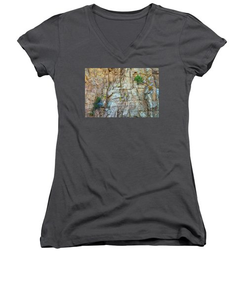Women's V-Neck featuring the photograph St Vrain Canyon Wall by James BO Insogna