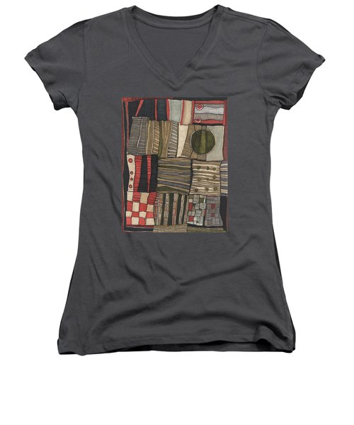 Stacked Shapes Women's V-Neck T-Shirt (Junior Cut) by Sandra Church