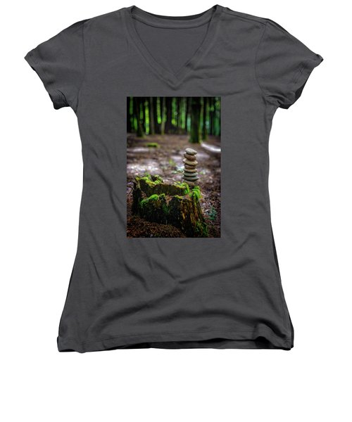 Women's V-Neck T-Shirt (Junior Cut) featuring the photograph Stacked Stones And Fairy Tales by Marco Oliveira