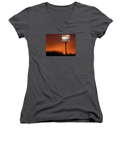 Stadium Lights Women's V-Neck T-Shirt (Junior Cut) by RKAB Works