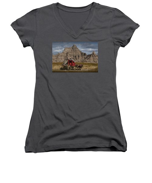 Stage Coach In The Badlands Women's V-Neck (Athletic Fit)