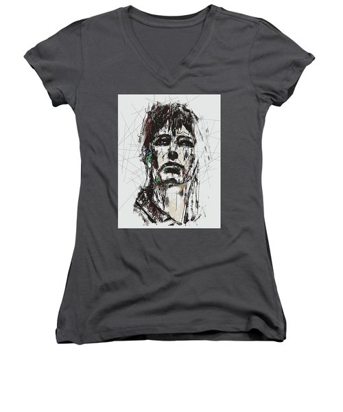 Staggered Abstract Portrait Women's V-Neck