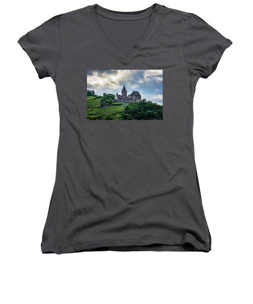 Women's V-Neck T-Shirt (Junior Cut) featuring the photograph Stahleck Castle by David Morefield