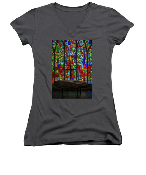 Stained Glass And Stone Altar Women's V-Neck (Athletic Fit)