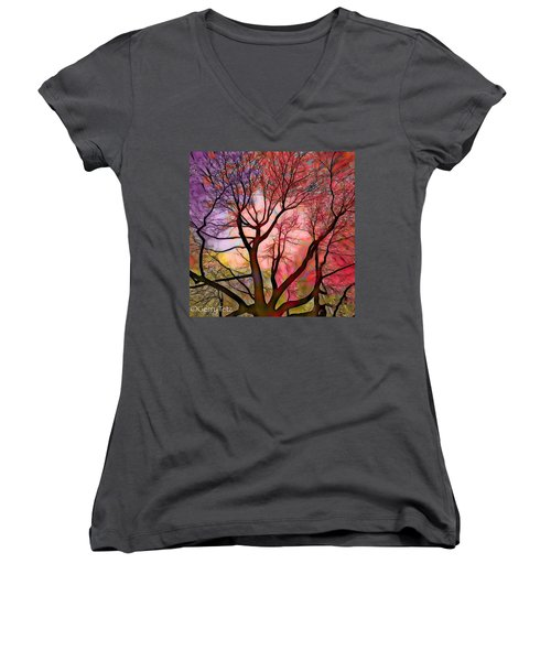 Stained Glass Sunrise 2 Women's V-Neck (Athletic Fit)