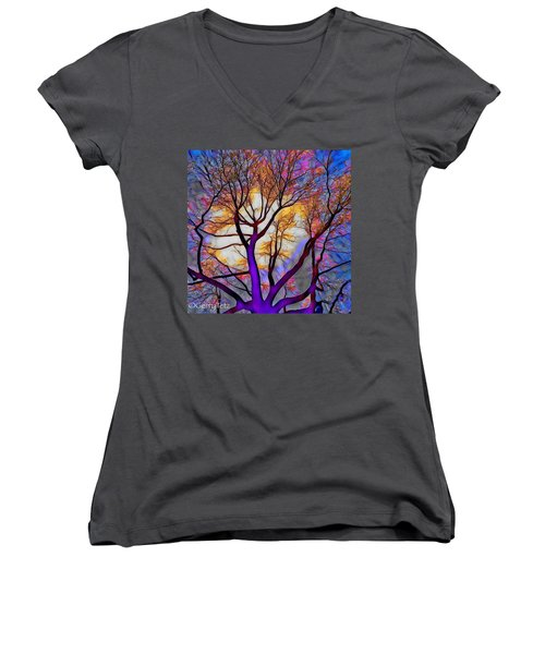 Stained Glass Sunrise Women's V-Neck (Athletic Fit)