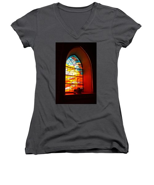 Stained Glass Window Women's V-Neck (Athletic Fit)