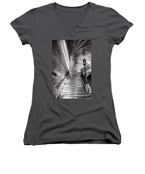 Stairs Of The Past Women's V-Neck T-Shirt (Junior Cut) by CJ Schmit