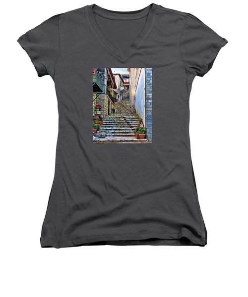 Stairs On Greek Island Women's V-Neck T-Shirt