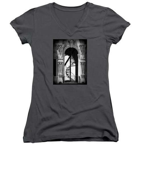 Stairway To Heaven Bw Women's V-Neck (Athletic Fit)