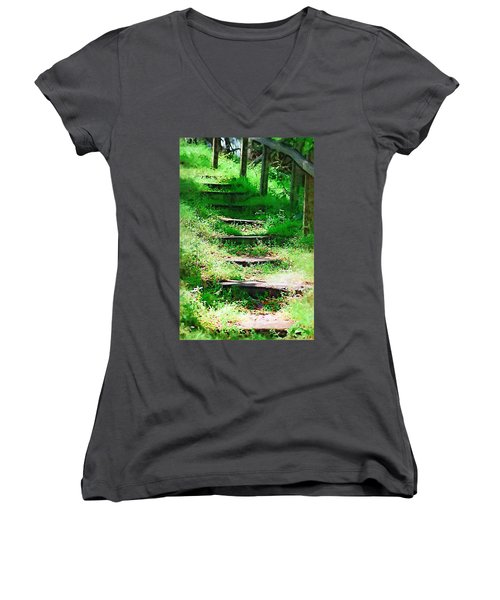 Women's V-Neck T-Shirt (Junior Cut) featuring the photograph Stairway To Heaven by Donna Bentley