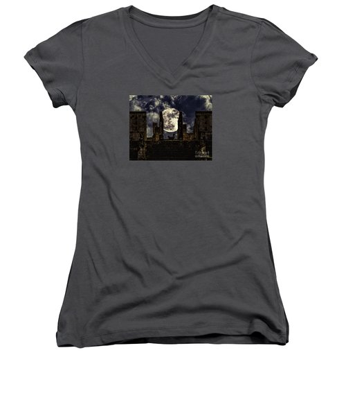 Stairway To The Moon Women's V-Neck T-Shirt (Junior Cut)