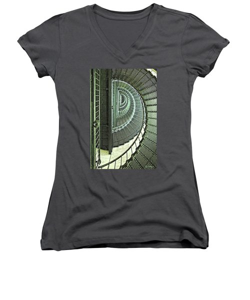 Stairwell Currituck Beach Lighthouse Women's V-Neck (Athletic Fit)