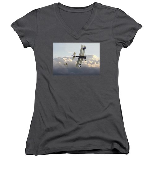 Women's V-Neck T-Shirt (Junior Cut) featuring the digital art Stalked - Se5 And Albatros Dlll by Pat Speirs