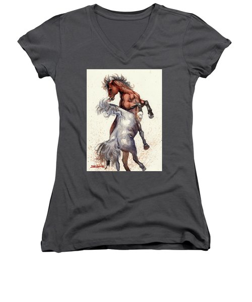 Women's V-Neck T-Shirt (Junior Cut) featuring the painting Stallion Showdown by Margaret Stockdale