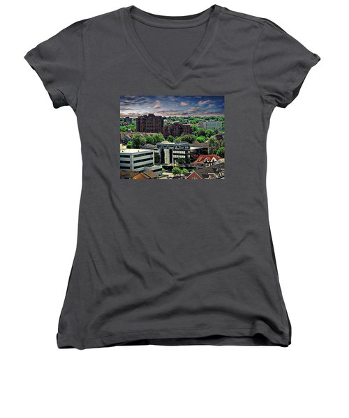 Stamford Cityscape Women's V-Neck T-Shirt (Junior Cut) by Anthony Dezenzio