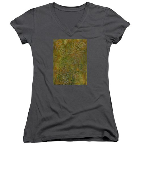 Stamped Textured Leaves Women's V-Neck T-Shirt (Junior Cut) by Sandra Foster