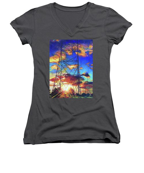 Stand Tall Women's V-Neck T-Shirt (Junior Cut) by Bonnie Lambert