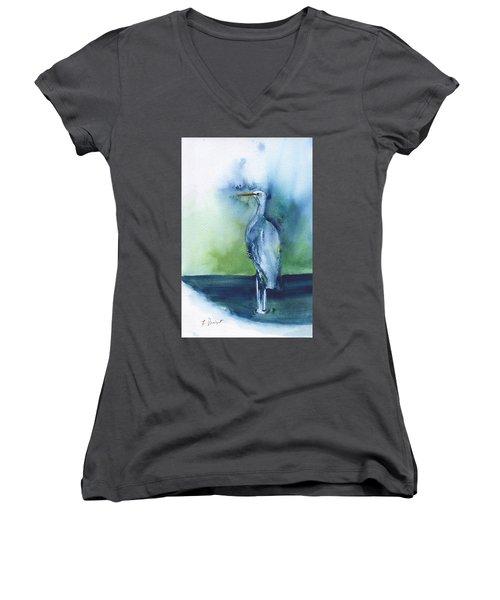 Standing Crane Women's V-Neck T-Shirt (Junior Cut) by Frank Bright