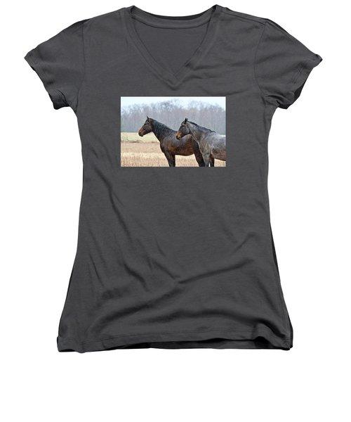 Standing In The Rain 1281 Women's V-Neck T-Shirt (Junior Cut) by Michael Peychich