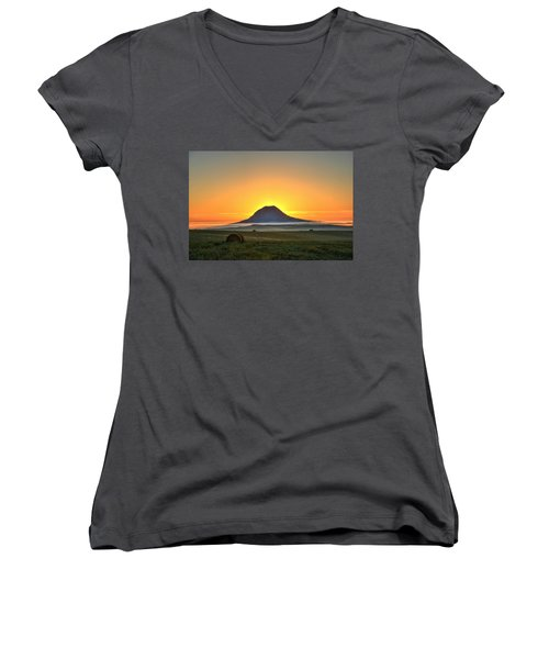 Women's V-Neck featuring the photograph Standing In The Shadow by Fiskr Larsen
