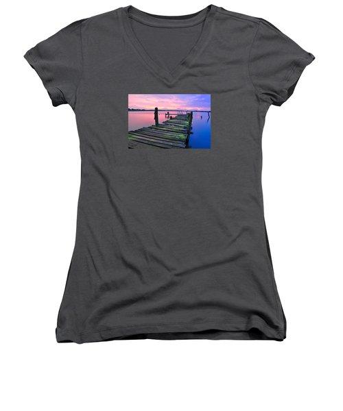 Standing On A Wooden Bridge Women's V-Neck T-Shirt