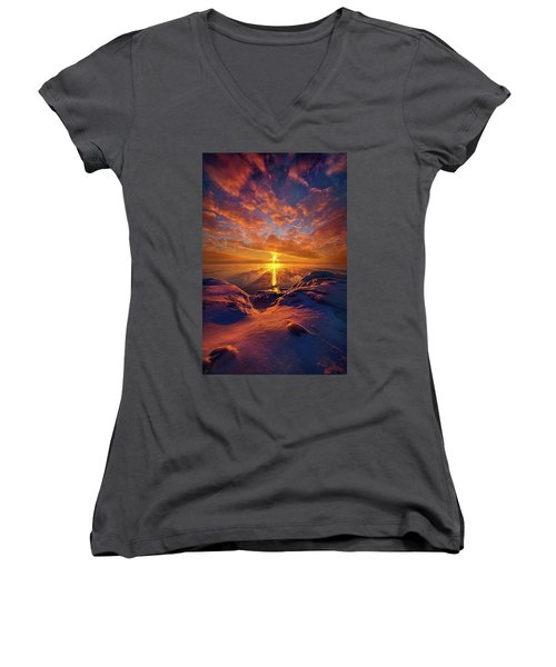 Women's V-Neck T-Shirt (Junior Cut) featuring the photograph Standing Stilled by Phil Koch