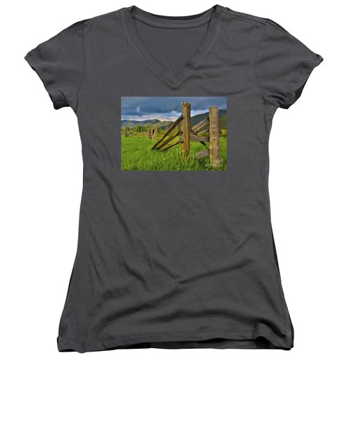 Standing The Test Of Time Women's V-Neck T-Shirt (Junior Cut) by John Roberts