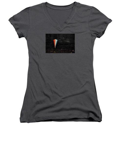 Standing Umbrella Women's V-Neck T-Shirt (Junior Cut) by Randi Grace Nilsberg