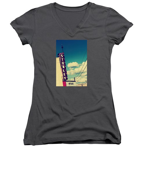 Women's V-Neck T-Shirt (Junior Cut) featuring the photograph Stanley by Trish Mistric