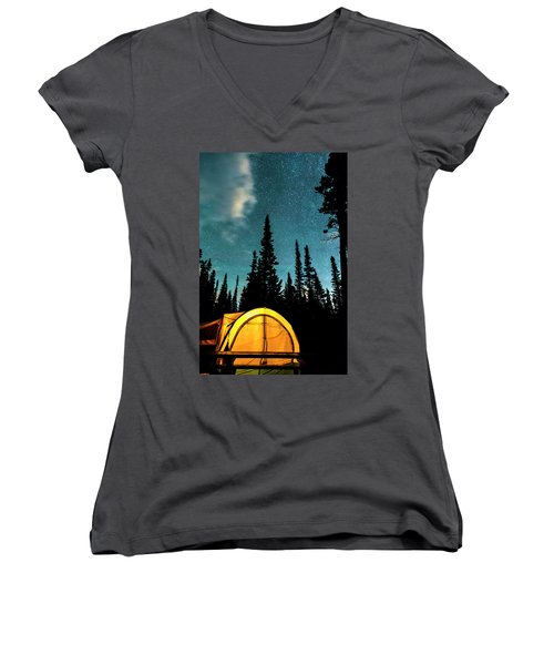 Women's V-Neck T-Shirt (Junior Cut) featuring the photograph Star Camping by James BO Insogna