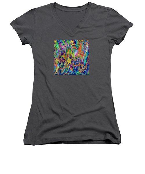 Star E Nite Women's V-Neck T-Shirt (Junior Cut) by Kevin Caudill