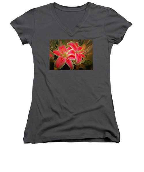 Star Gazer Lilies Women's V-Neck