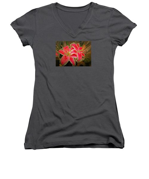 Star Gazer Lilies Women's V-Neck (Athletic Fit)